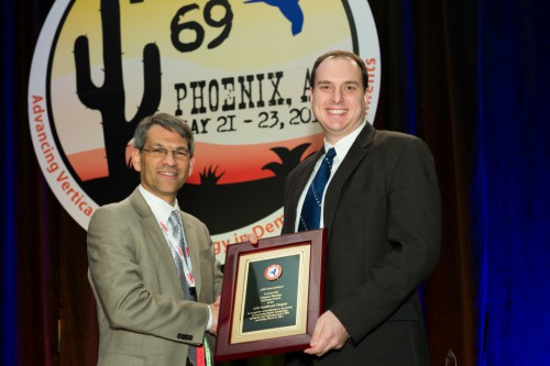 Winner of AHS Chapter Member Increase Contest at Forum 69 Awards, 2013 - Southwest Chapter, Aaron Brieger, Sikorsky Aircraft Corp., accepted the award for the chapter from Mike Hirschberg.