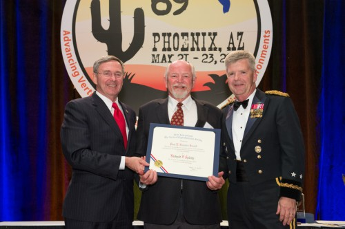 Winner of Paul E. Haueter Award at Forum 69 Awards, 2013 - Richard F. Spivey (center), former Director of the U.S. Army's Aeroflightdynamics Directorate, was escorted on stage by MG Tim Crosby (right).