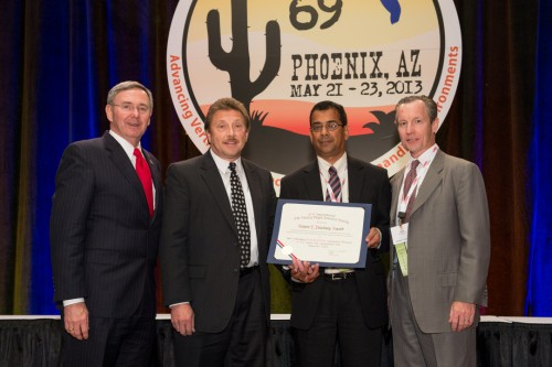 Winner of Robert L. Pinckney Award at Forum 69 Awards, 2013 - V-22 Large Cell composite Core Flaperon Team : Mundt with members of the team -Donn Hethcock, Bell Helicopter Textron Inc.;  Suvankar Mishra, NAVAIR;   and Stan Wright, GKN Aerospace, and Ultracor, Inc.