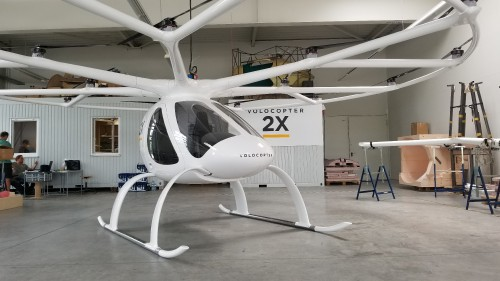 Volocopter 2X number 1 at the Volocopter factory at Bruchsal Airfield. AHS photo taken July 9, 2017. Copyright: CC BY-SA