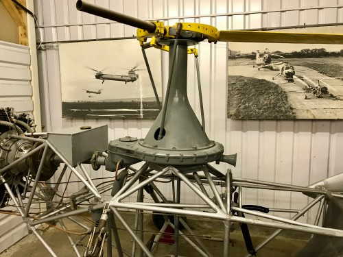 The aircraft can also be seen in the picture on the wall behind the aircraft in front of the other helicopters.  Photo taken at The Helicopter Museum, Weston-Super-Mare, UK.  Image donated to AHS International (image provided under the terms Creative Commons license Attribution-ShareAlike 4.0 International (CC BY-SA 4.0))