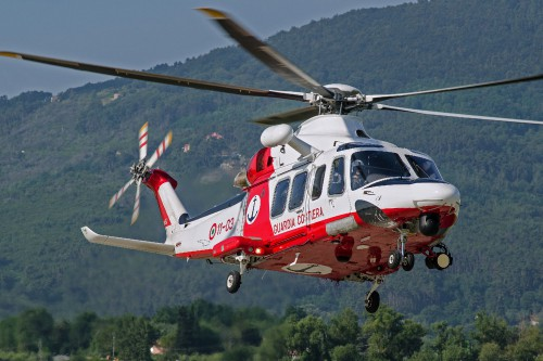 AGUSTAWESTLAND AW.139CP MM81748/11-03 of Italian Coast Guard at Luni CGAS (I) on 2012.07.04 - the helicopter prepares to land at the base back from a maritime SAR training mission