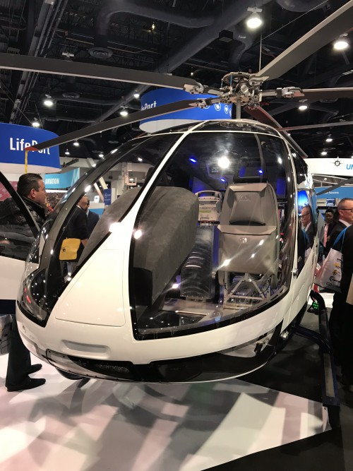 Kopter (formerly Marenco Swisshelicopter) SH09 mockup on display at the Las Vegas Convention Center in Las Vegas, Nevada, on Tuesday, Feb. 27, 2018, at the HAI Heli-Expo 2018. AHS photo by Ian V. Frain. CC-BY-SA