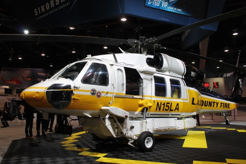 The Los Angeles County Fire Department S-70A Firehawk ship #15 (N15LA) on display at the Sikorsky, a Lockheed Martin Company, exhibit at the Las Vegas Convention Center in Las Vegas, Nevada, on Tuesday Feb. 27, 2018, at the HAI Heli-Expo 2018. AHS photo by Ian V. Frain. CC-BY-SA