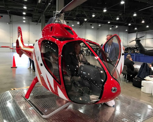 SBM Development GmbH brought a mock-up of their RT216 two-seater again this year. The ultralight uses an SBM-developed turbine engine. Photo taken at the Las Vegas Convention Center in Las Vegas, Nevada at the HAI Heli-Expo 2018. AHS photo by Ian V. Frain. CC-BY-SA