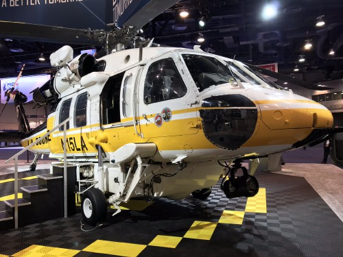 The Los Angeles County Fire Department S-70A Firehawk ship #15 on display at the Sikorsky, a Lockheed Martin Company, exhibit at the Las Vegas Convention Center in Las Vegas, Nevada, on Tuesday Feb. 27, 2018, at the HAI Heli-Expo 2018. AHS photo by Ian V. Frain. CC-BY-SA