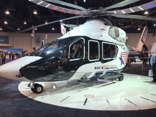 Airbus Helicopters H160 Prototype #2 (F-WWPL) on display at the Las Vegas Convention Center in Las Vegas, Nevada, on Tuesday, Feb. 27, 2018, the first day of HAI Heli-Expo 2018. AHS photo by Ian V. Frain. CC-BY-SA