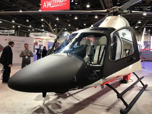 Leonardo Helicopters AW109 Trekker on display at the Las Vegas Convention Center in Las Vegas, Nevada, on Tuesday, Feb. 27, 2018, at the HAI Heli-Expo 2018. AHS photo by Ian V. Frain. CC-BY-SA