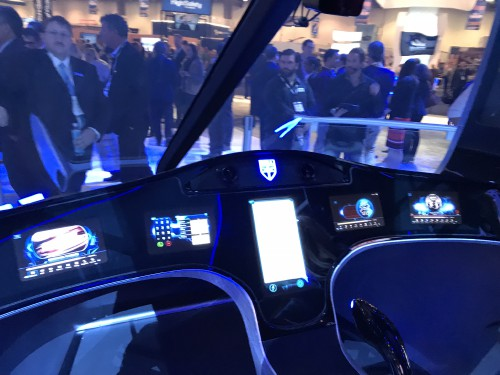 Bell AirTaxi cabin experience on display at the Las Vegas Convention Center in Las Vegas, Nevada, on Tuesday, Feb. 27, 2018, at the HAI Heli-Expo 2018. AHS photo by Ian V. Frain. CC-BY-SA