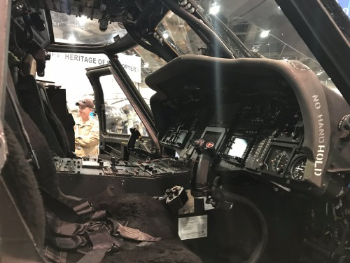 US Customs Border Patrol (CBP) UH-60L cockpit at the Las Vegas Convention Center in Las Vegas, Nevada, on Tuesday. Feb. 27, 2018, at the HAI Heli-Expo 2018. AHS photo by Ian V. Frain. CC-BY-SA