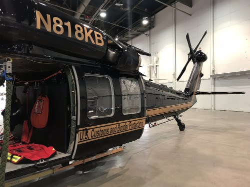 US Customs Border Patrol (CBP) UH-60L (N818KB) at the Las Vegas Convention Center in Las Vegas, Nevada, on Tuesday. Feb. 27, 2018, at the HAI Heli-Expo 2018. AHS photo by Ian V. Frain. CC-BY-SA