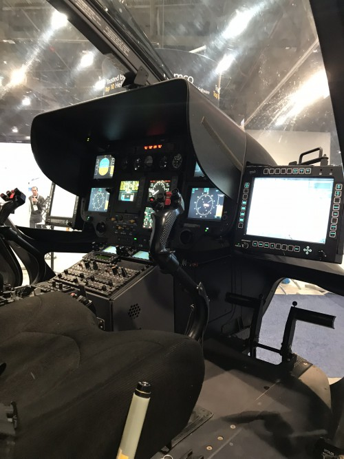Airbus Helicopters UH-72 Lakota (72265) cockpit (Nevada Army National Guard) at the Las Vegas Convention Center in Las Vegas, Nevada, on Tuesday Feb. 27, 2018, at the HAI Heli-Expo 2018. AHS photo by Ian V. Frain. CC-BY-SA
