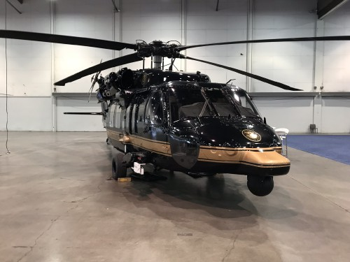 US Customs Border Patrol (CBP) UH-60L at the Las Vegas Convention Center in Las Vegas, Nevada, on Wed. Feb. 28, 2018, at the HAI Heli-Expo 2018. AHS photo by Ian V. Frain. CC-BY-SA
