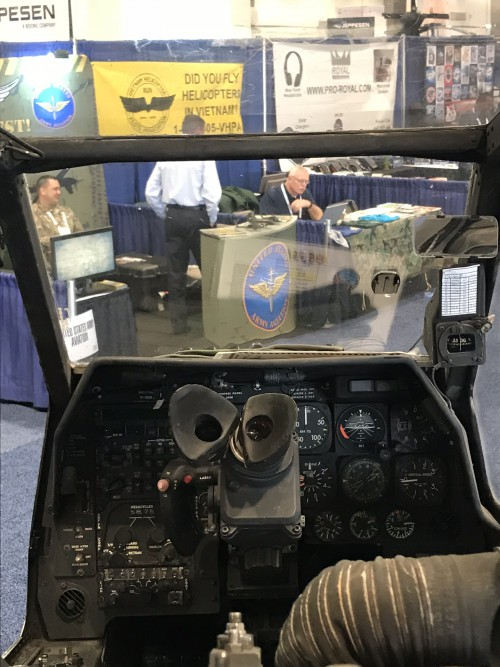 Co-Pilot/Gunner (CPG) station (front seat) of Army Aviation Heritage Foundation (AAHF) Bell AH-1F Cobra attack helicopter. Photo taken at the Las Vegas Convention Center in Las Vegas, Nevada, on Wed. Feb. 28, 2018, at the HAI Heli-Expo 2018. AHS photo by Ian V. Frain. CC-BY-SA