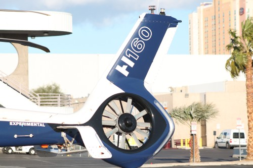 Airbus Helicopters H160 Prototype #2 (F-WWPL) prepares to take off from the Las Vegas Convention Center in Las Vegas, Nevada, on Friday, March 2, 2018, after the conclusion of the HAI Heli-Expo 2018. AHS photo by Ian V. Frain. CC-BY-SA