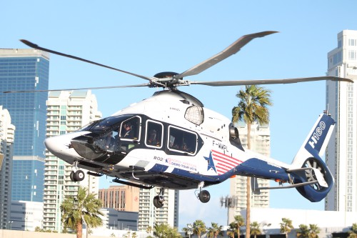 Airbus Helicopters H160 Prototype #2 (F-WWPL) takes off from the Las Vegas Convention Center in Las Vegas, Nevada, on Friday, March 2, 2018, after the conclusion of the HAI Heli-Expo 2018. AHS photo by Ian V. Frain. CC-BY-SA