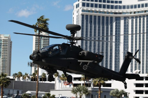Utah Army National Guard AH-64D Longbow lifts off from the Las Vegas Convention Center in Las Vegas, Nevada, on Friday, March 2, 2018, after the conclusion of the HAI Heli-Expo 2018. AHS photo by Ian V. Frain. CC-BY-SA