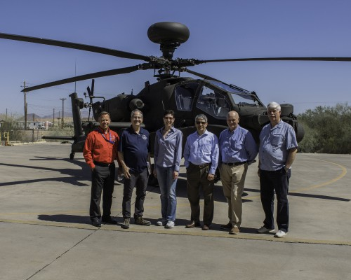 Photo of (left to right) Shane Openshaw, Boeing; Ken Swartz and Elan Head, Vertical magazine; Mike Hirschberg, Executive Director of the Vertical Flight Society; Alan Norris and Gary Vincent, on the Forum 74 media tour group at Boeing Mesa, Friday, May 18, 2018. Boeing photo for the Vertical Flight Society by Mike Goettings. CC BY-NC-SA 3.0