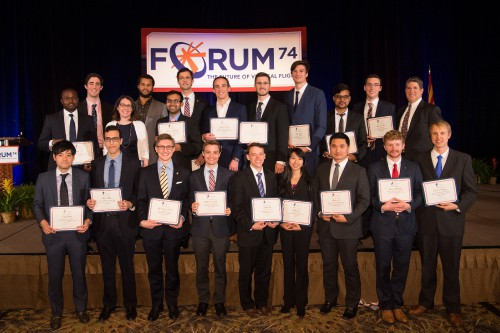 20 of the 25 VFF Scholarship Winners were recognized in person during the 74th Annual Grand Awards Banquet. The Vertical Flight Society provided at total of $90,000 in scholarships in 2018. Dan Newman, the VFF Selection Committee Chair stands in the back right. VFS photo by Kenneth Krehbiel, May 16, 2018.