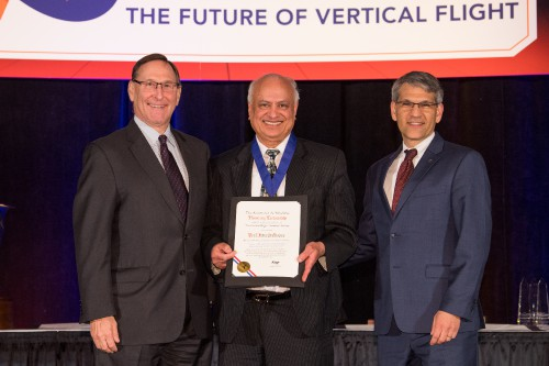 "Dr. Inderjit Chopra, University of Maryland, was honored after having delivered the 2018 Alexander A. Nikolsky Honorary Lectureship, entitled, ""Small Unmanned Aircraft Systems (UAS) and Delivery Drones: Challenges & Opportunities."" VFS photo by Kenneth Krehbiel, May 16, 2018."