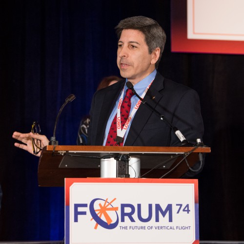 Jim Condelles, of Boeing Vertical Lift Communications, was the Forum 74 Awards Master of Ceremonies. VFS photo by Kenneth Krehbiel, May 16, 2018. CC BY-SA 3.0