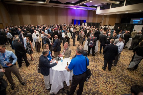Some of the 600+ attendees at the VFF Reception, prior to the 74th Annual Grand Awards Banquet at Forum 74, May 16, 2018, Phoenix, Arizona. VFS photo by Kenneth Krehbiel, May 16, 2018. CC BY-SA 3.0