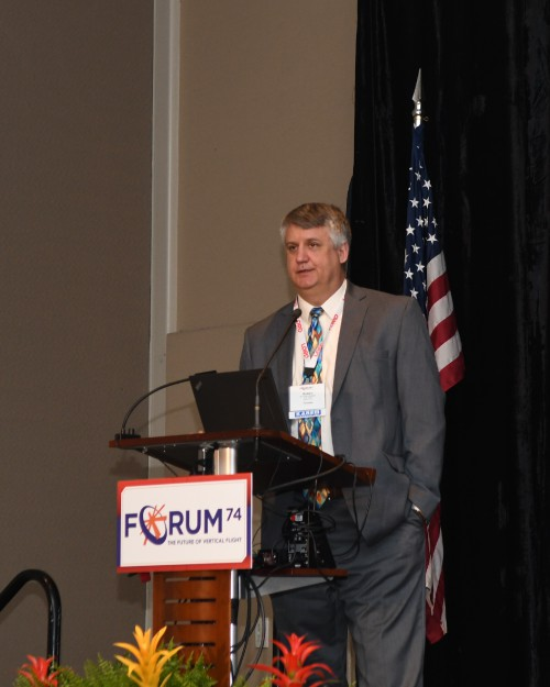 Presentation by Robert Sheibley, Deputy Project Manager, Aviation Turbine Engines, US Army's Program Executive Office (PEO) Aviation, at the Forum 74 Army Aviation Program Managers Special Session on Tuesday morning, May 15, 2018. VFS Photo by Kenneth I. Swartz. CC BY-SA 3.0