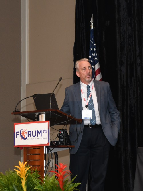 Presentation by Tom Neupert, Tech Chief, Cargo Helicopters, US Army Program Executive Office (PEO) Aviation, at the Forum 74 Army Aviation Program Managers Special Session on Tuesday morning, May 15, 2018. VFS Photo by Kenneth I. Swartz. CC BY-SA 3.0