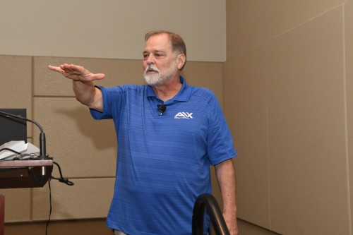 Mark Dreier demonstrates some of the principles of rotor behavior as part of the Short Course on Rotorcraft Simulation, held Monday, May 14, 2018, prior to the first day of technical presentations of Forum 74 at the Phoenix Convention Center. VFS photo by Kenneth I Swartz. CC BY-SA 3.0