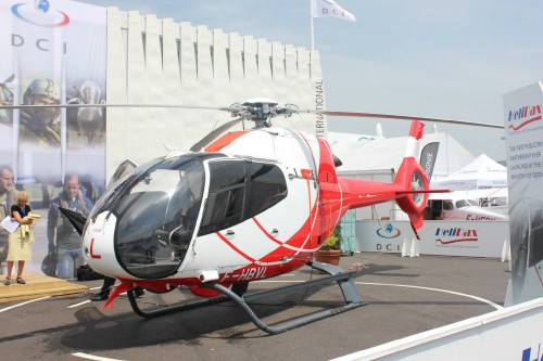 A left side view of HeliDax's Eurocopter EC120B. Photo taken by Vertiflite author and photographer Ian V. Frain.