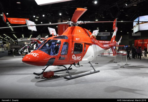 A photo of the AgustaWestland AW119 at Heli-Expo 2016. Photo taken by Kenneth I. Swartz.