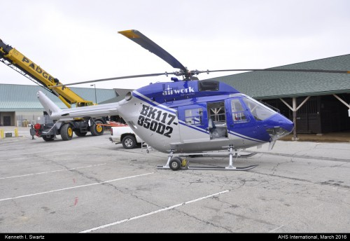A photo of the Airbus BK117 Airwork at Heli-Expo 2016. Photo taken by Kenneth I. Swartz.