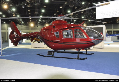 A photo of the Airbus EC135T2 at Heli-Expo 2016. Photo taken by Kenneth I. Swartz.