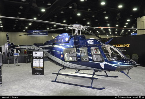 A photo of the Bell 407HP at Heli-Expo 2016. Photo taken by Kenneth I. Swartz.