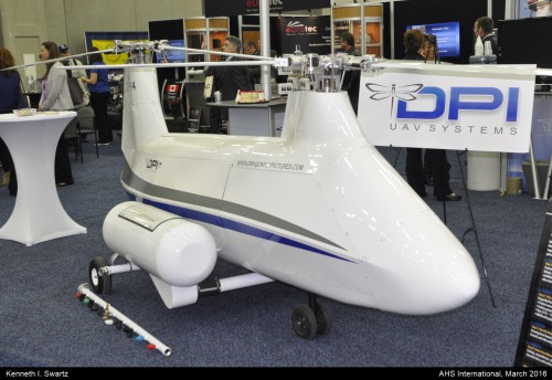 A photo of the Dragonfly UAV at Heli-Expo 2016. Photo taken by Kenneth I. Swartz.
