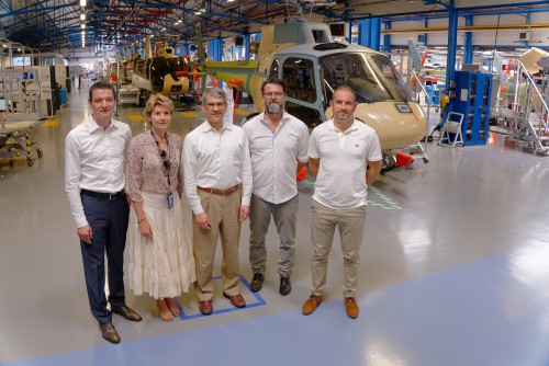 Airbus personnel provided VFS Executive Director Mike Hirschberg with a tour of the H125/H130 Ecureuil Final Assembly Line (FAL) in Marignane, France, June 21, 2018. Photo courtesy of Airbus for The Vertical Flight Society. CC-BY-SA 3.0