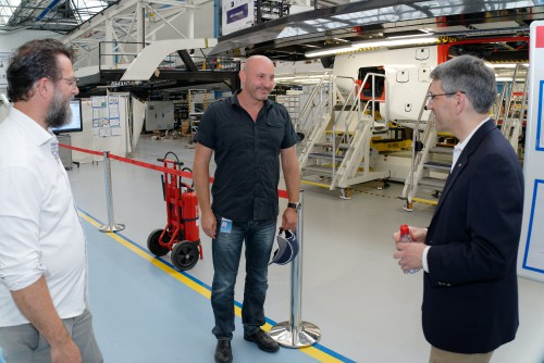 Airbus personnel provided VFS Executive Director Mike Hirschberg with a tour of the brand new H160 Final Assembly Line (FAL) in Marignane, France, June 21, 2018. Photo courtesy of Airbus for The Vertical Flight Society. CC-BY-SA 3.0