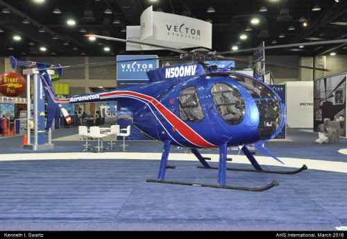 A photo of the MD MD500D at Heli-Expo 2016. Photo taken by Kenneth I. Swartz.