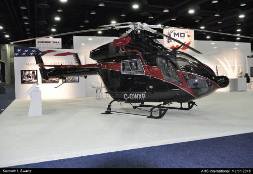 A photo of the MD MD902 Ascent at Heli-Expo 2016. Photo taken by Kenneth I. Swartz.