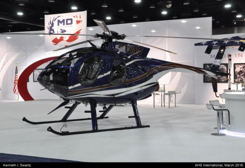 A photo of the MD MD530 Ascent at Heli-Expo 2016. Photo taken by Kenneth I. Swartz.