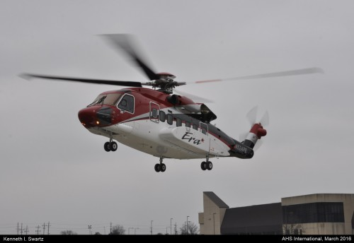 A photo of the Sikorsky S-92 Era at Heli-Expo 2016. Photo taken by Kenneth I. Swartz.