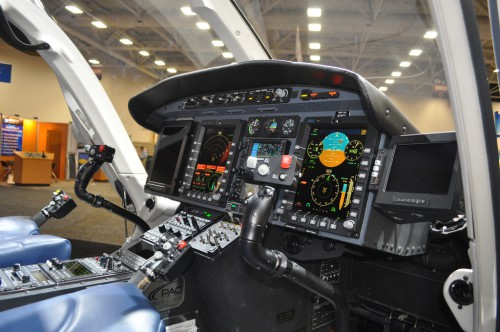 The glass cockpit of the Bell 429 certified for single-pilot IFR. VFS Photo.