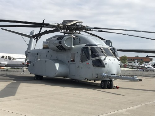 The first production CH-53K King Stallion made its international debut at ILA Berlin. VFS photo by Ian Frain, April 25, 2018. CC BY-SA 4.0