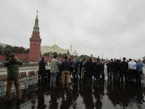 ERF participants enjoying the Moskva River, despite the rain. — in Moscow, Moscow City, Russia. VFS Photo.
