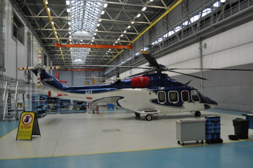 First Heli-Vert AW139 built in Russia. The second aircraft is behind it. — in Moscow, Moscow City, Russia. VFS Photo.