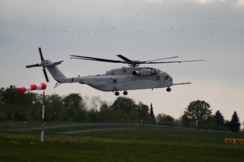 The first production CH-53K King Stallion made its international debut at ILA Berlin. VFS photo by Ian Frain, April 26, 2018. CC BY-SA 4.0
