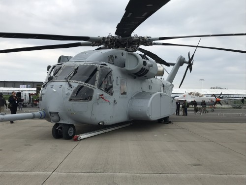 Port side of the CH-53K King Stallion at ILA Berlin 2018. VFS photo by Ian Frain, April 25, 2018. CC BY-SA 4.0