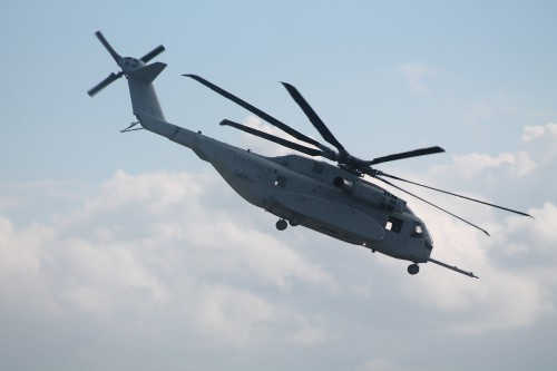 The first production CH-53K King Stallion made its international debut at ILA Berlin 2018, stunning the crowds with its heavy lift and fly-by-wire capabilities. VFS photo by Ian Frain, April 25, 2018. CC BY-SA 4.0