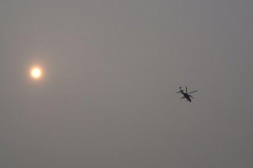 Z-10 through the smog. VFS Photo.