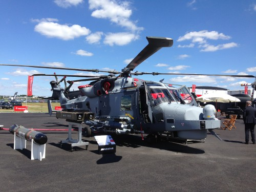 Leonardo had a large presence at Farnborough with its latest products on display, including the sixth Norwegian All-Weather Search And Rescue (NAWSARH) AW101, the upgraded Brazilian Navy (Marinha) Super Lynx Mk.21B, and the UK Royal Navy AW159 Wildcat HMA.1.AW159 Wildcat front view. Photo by Ian Frain.